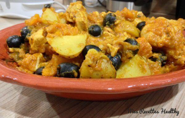 tajine-au-poulet,courge,olive,