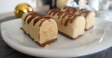 buche,cheesecake,glacé,banane,vanille