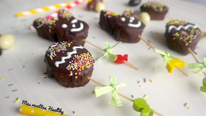 Sucette de brownie chocolat lentille