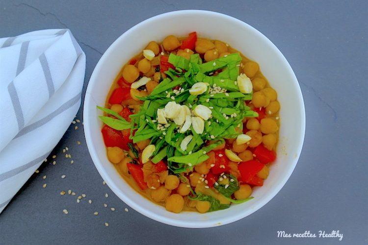 Curry de pois chiches aux pousses d'épinards