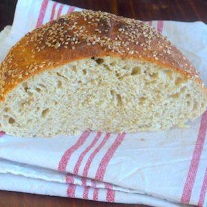pain-recette-rapide-sans pétrissage-facile-sesame-kamut-complet
