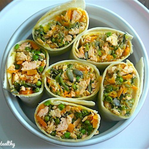 Wrap Roulé Au Saumon Et Légumes épicés