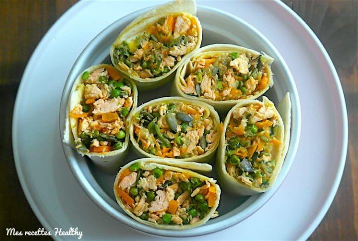 wrap, recette,saumon,roulé,pois,carotte,courgette,feta,epice,