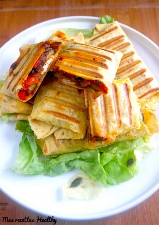Burritos aux légumes et poulet au garam masala