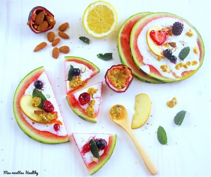 recette-pizza-pastèque-fruit-healthy-legere-salade-fruits-saison-ete-fraiche-cème de coco-pizza pastèque
