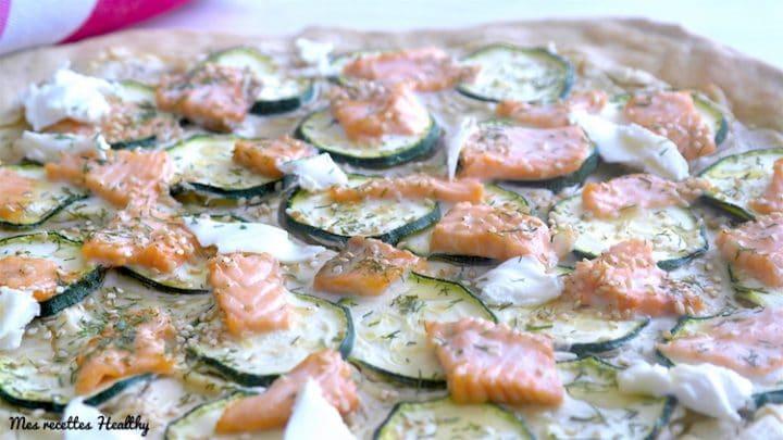 Tarte fine au saumon et courgette