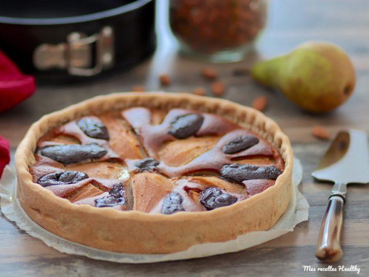 tarte amandine-recette-tarte-amandine-amande-poire-chocolat-healthy-fait maison-maison-