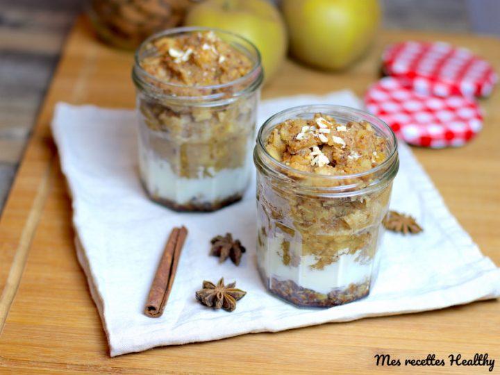 verrine-pomme-pommes-amande-yaourt-flocon avoine-verrine à la pomme