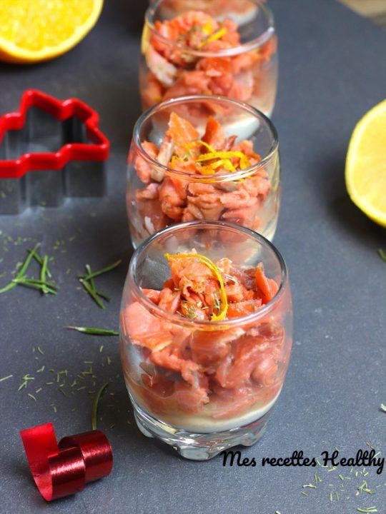 Verrine de saumon fumé et fromage aux agrumes