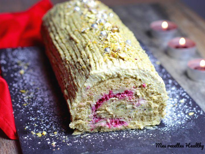 recette-bûche-Noel-pistache-chocolat-ganache-sans beurre- buche roulée-bûche à la pistache