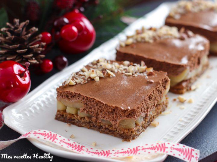 entremet poire chocolat-recette-helathy-entremet poire chooclat-chocolat-poires-gâteau-gateau-healthy-dacquoise-noisette