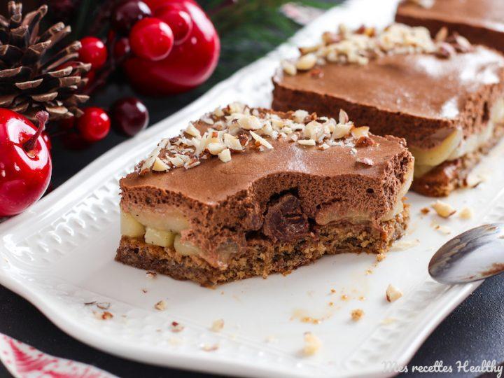 recette-helathy-entremet poire chooclat-chocolat-poires-gâteau-gateau-healthy-dacquoise-noisette