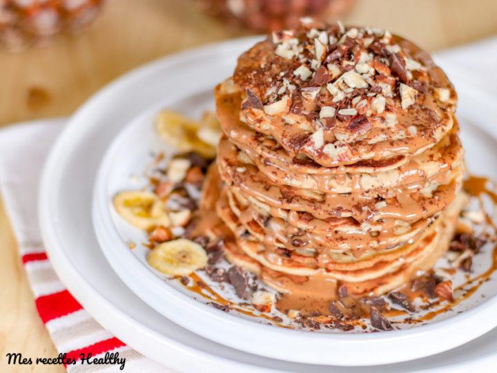 recettes de pancake healthy-recette-pancake-sans sucre ajouté-lait de coco-noisette-chocolat-healthy-pancake à la noisette