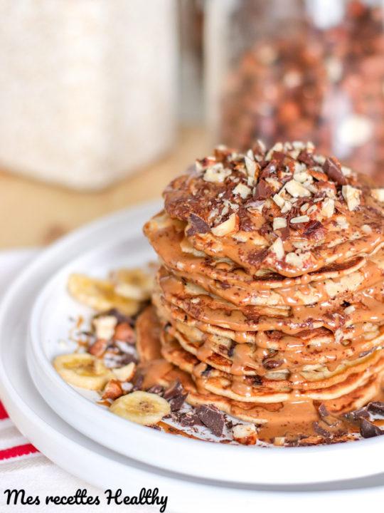 recette-pancake-sans sucre ajouté-lait de coco-noisette-chocolat-healthy-pancake à la noisette
