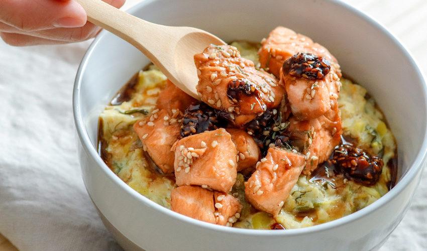 recette-porridge-gruau-poireau-legume-avoine-pois chiche-saumon-poisson-porridge salé-facile-rapide-sauce soja-balsamique-porridge de poireau
