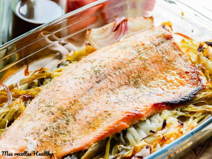 filet de truite-saumon-moutarde-miel-poireau-four-healthy-