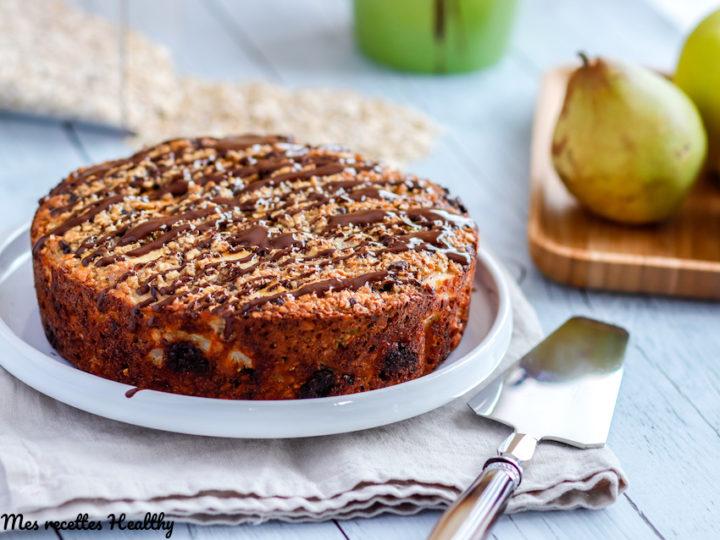 recette-gateau sans gluten-healthy-gateau pomme et poire-fruits-avoine-cereale-flocon-chocolat-cacao