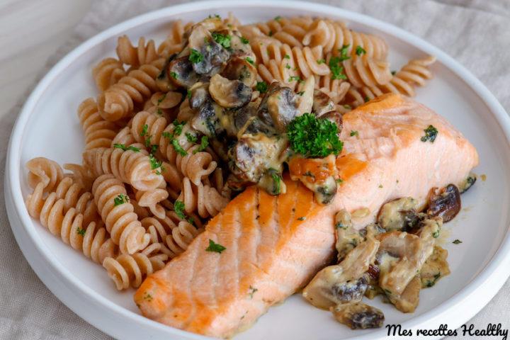 recette-pavé de saumon-poisson-plat complet-facile-healthy-creme-sans lait-champignon