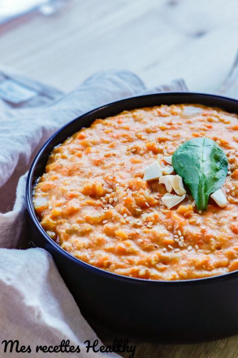 recette-porridge salé de potiron-lentille corail-dahl-dhal-citrouille-courge-flocon d'avoine-recette-healthy