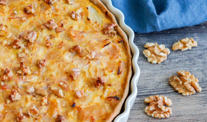 recette-tarte au chou blanc-fromafe-creme-bacon-healthy-quiche-choux-noix-miel-roquefort-chevre-facile