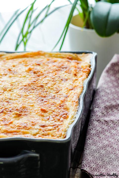 recette-gratin de poulet-chou fleur-repas complet-sauce béchamel-sans lait-sans gluten-légume-viande-champignon