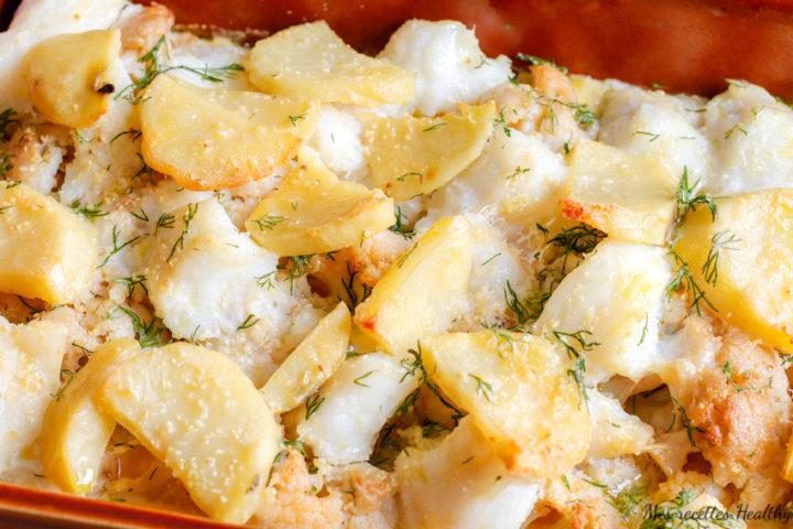 recette healthy-gratin-quiche-quiche de julienne-poisson cabillaud-pomme de terre-chou fleur-legume-plat complet