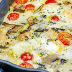 recette healthy-quiche sans pâte-quiche au poulet-proteine-plat complet-gratin-champignon-fromage -mozza-mozzarella