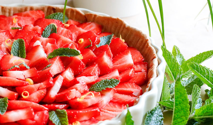 recette-tarte aux fraises-healthy-pâte sablée-fruit-fruits-creme pâtissière-sans lait-sans beurre-léger-facile