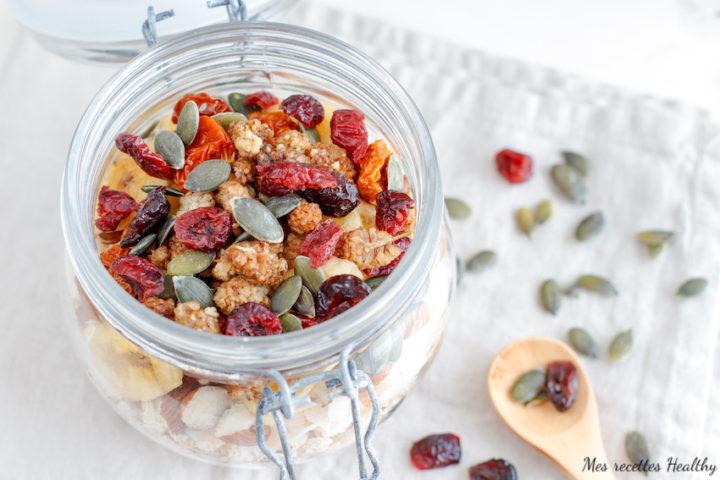 recette-bio-cereale-fruit sec-petit déjeuner-muesli maison-mueslis-granola-sans lait-dietetique