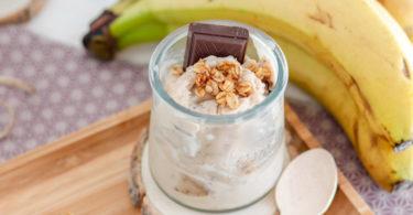 recette-glace maison-sorbet-banane-lait de noisette-chocolat-pepite de chocolat-healthy-sans sucre-glace à la banane