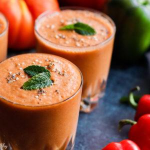 recette-soupe froide-espagne-espagnole-entree-tomate-conocmbre-poivron-gaspacho-sans gluten-sans pain