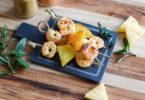 recette-apéritif-entree-crustacee-crevette-fruit-ananas-brochette de crevette