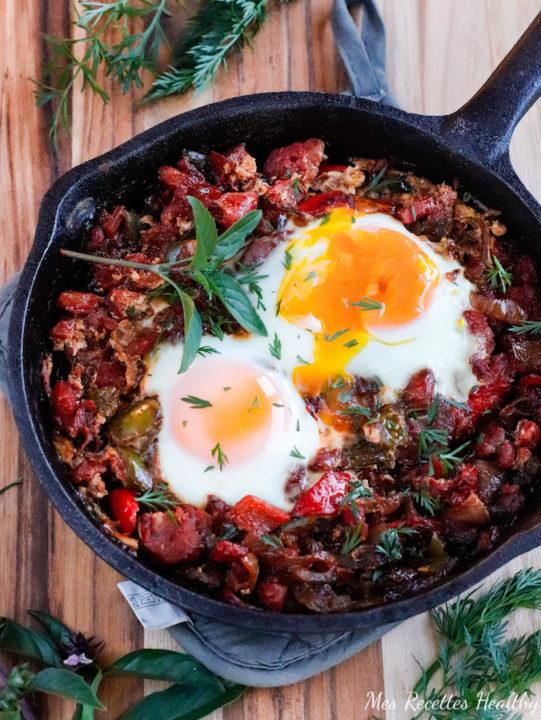 recette healthychakchouka-ratatouille-legume-tomate-poivron-oeufs-proteine-vegetarien-plat