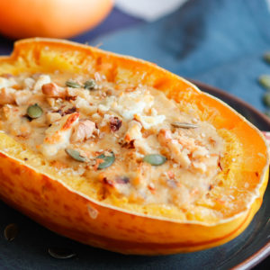 recette-healthy-courge-automne-fromahe-chevre-bacon-noix-noisette-lentille corail-courge spaghetti farcie