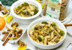 recette-healthy-penne au poulet-legume-lazzaretti-sauce-yakitori-brocolis-champignon-chanterelle-pois-pâte-asiatique