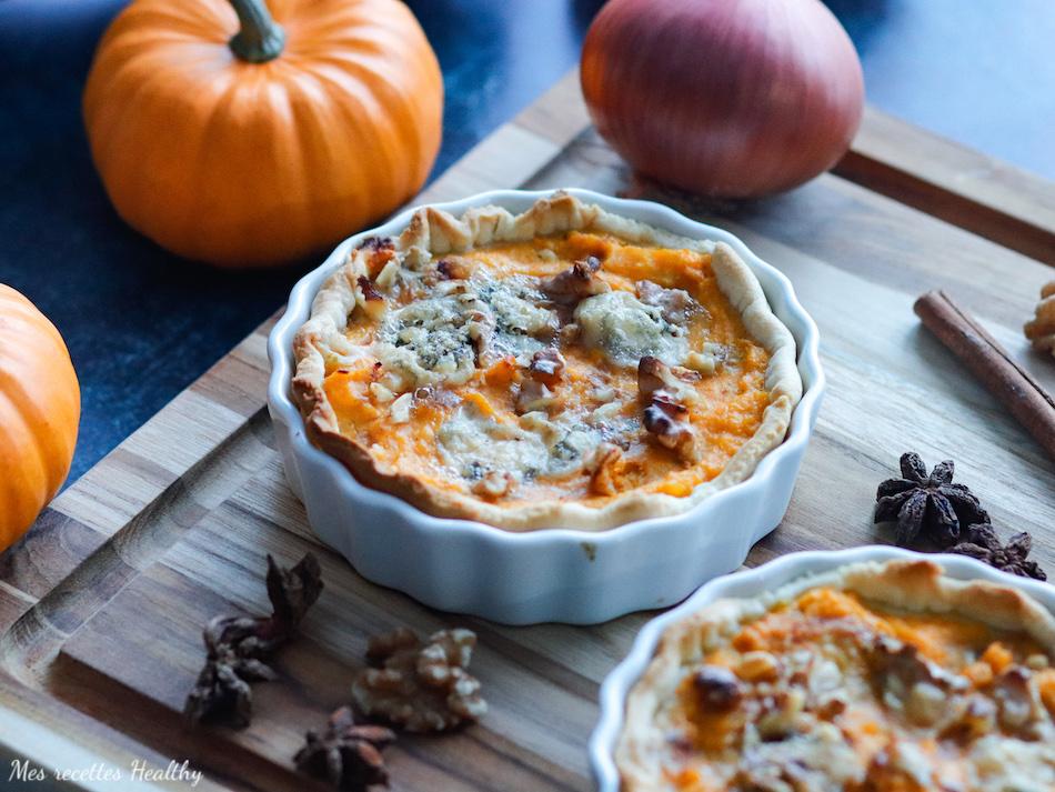 tartelette de butternut-recette healthy-butternut-courge-potiron-potimarron-bleu-chevre-fromage-bacon-tarte-quiche-noix