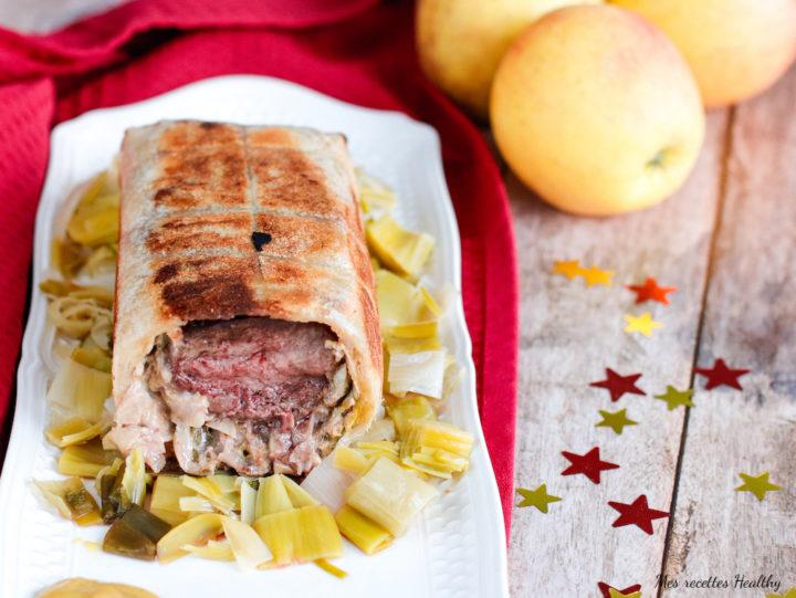 recette-noel-fete-magret-canard-viande-ballotin-feuille de brick-fondu de poireau-moutarde