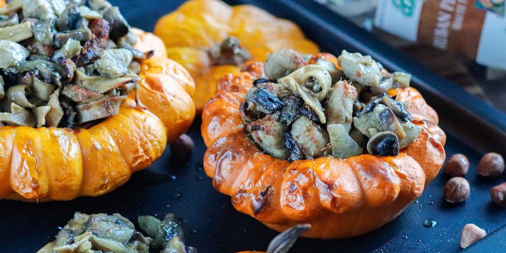 recette-patisson farci-courge-pate-bio-poulet-champignon-creme-sauce