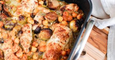 poulet grille-four-pois chiche-recette healthy