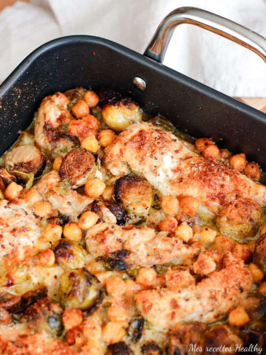 Poulet grillé au choux de Bruxelles et pois chiches