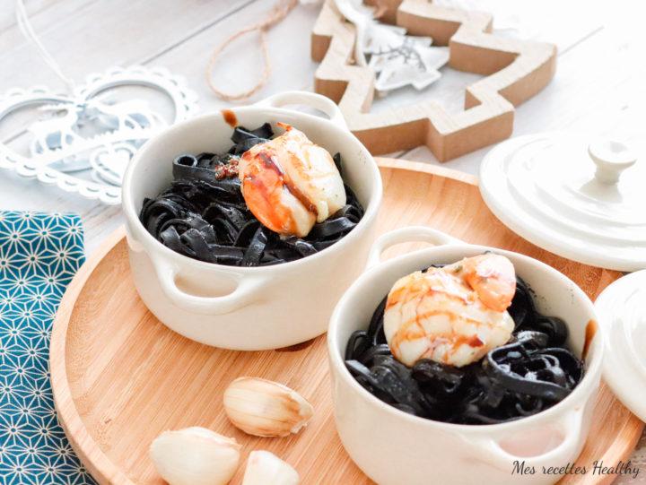 Tagliatelle à l'encre de seiche et noix de Saint-Jacques