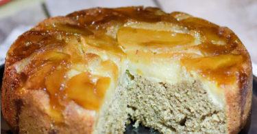 gâteau aux pommes renversé-sans beurre, healthy,caramel, noix de pécan