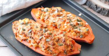 recette Healthy-patate douce farcie-fromage-poulet-champignon-crème -roquefort-bleu