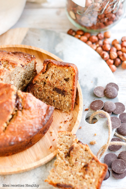 recette Healthy-banane bread-banana break-moelleux-chocolat-noisette