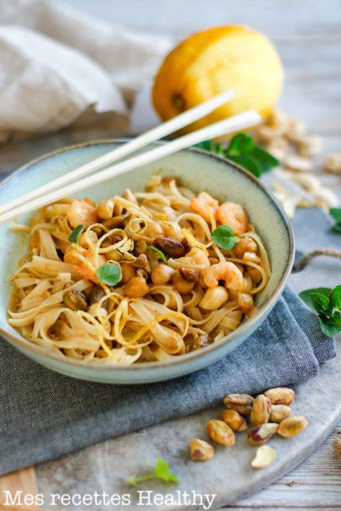 recette Health-nouille de riz-nouille asiatique-nouille thai -crevette-lait de coco-pistache-cajou