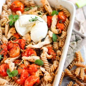 fusili aux tomates cerises-pate-penne-fusili-poulet-citron-tomate-herbes-recette healthy