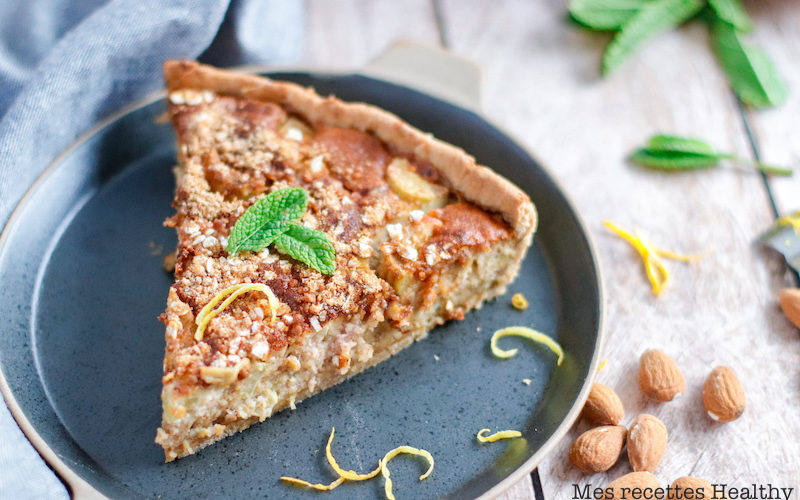 recette healthy-tarte rhubarbe-compote pomme-creme amande-