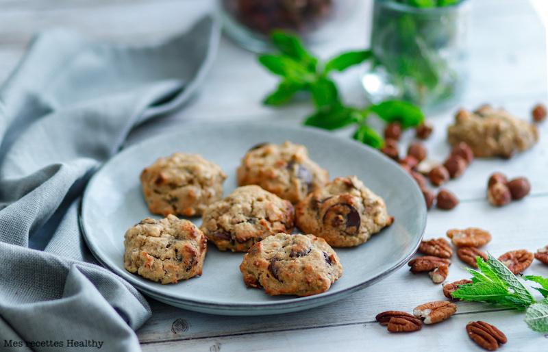 recette healthy-biscuit-cookie-sans gluten-pois chiche-banane-beurre cacahuète-noisette-pecan-noix