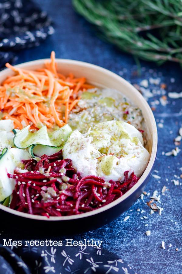 recette healthy-bowl-salade-entree-betterave-caviar aubergine-carotte-courgette-crudite