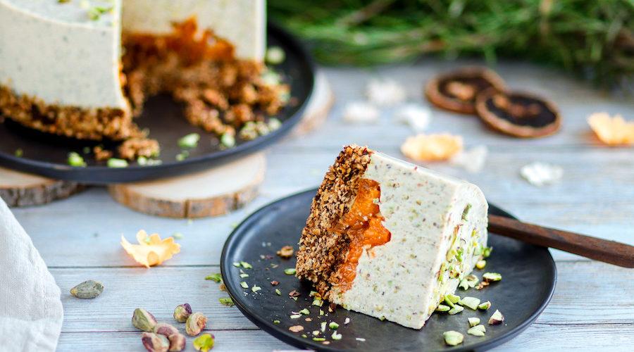 recette healthy-cheesecake-sans cuisson-abricot-pistache-creme-sans cuisson